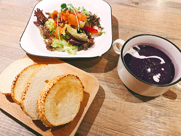 西餐廳, 沙拉, 麵包, 湯