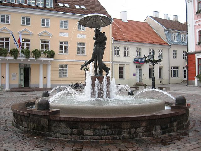 Tartu Old Town, Kissing Students Fountain, Estonia