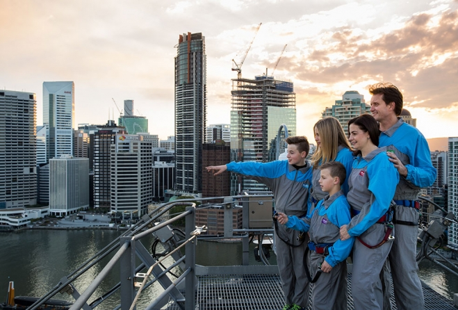 kids enjoy climbing in story bridge