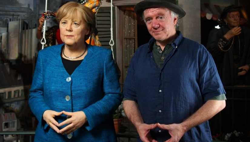 A wax statue of Dr. Angela Merkel at Panoptikum Hamburg