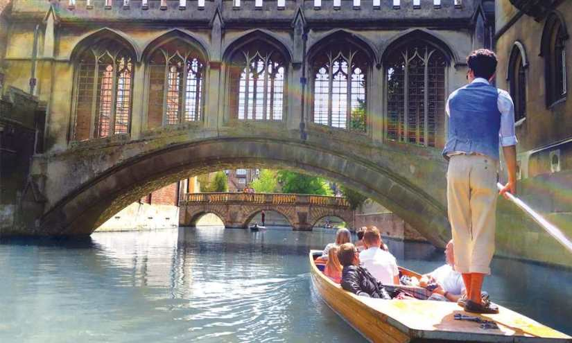 kids enjoy punting in Cambridge