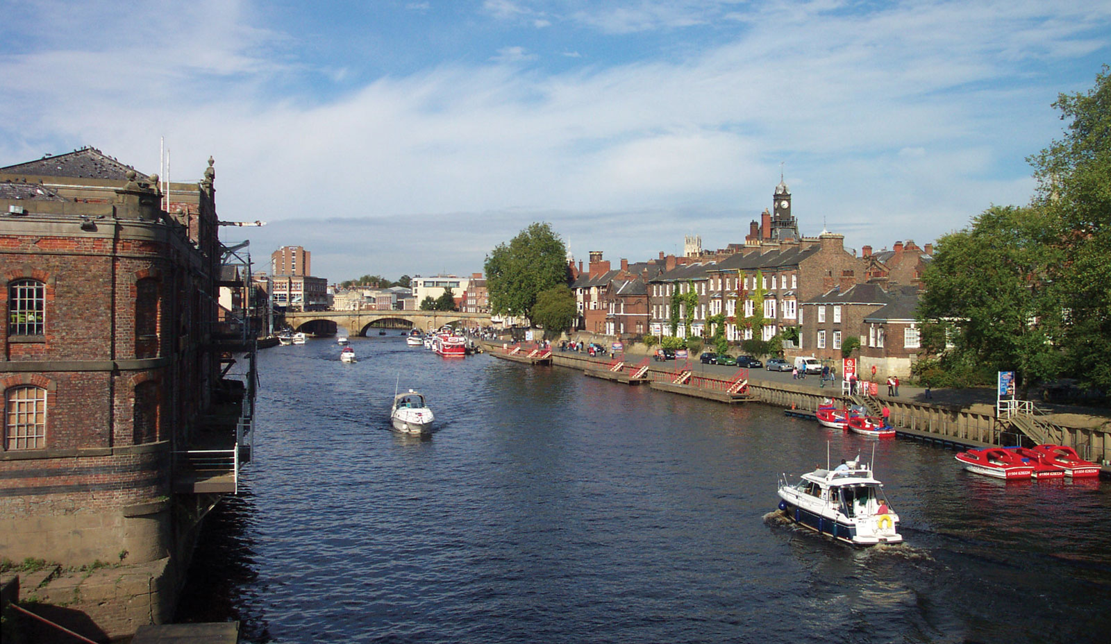 the cruise and boats on the Ouse River, York, UK