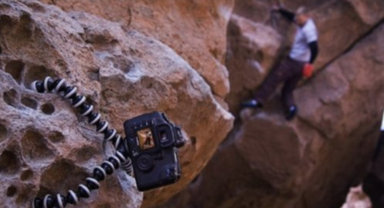 joby gorillpod attached to cliff with climber