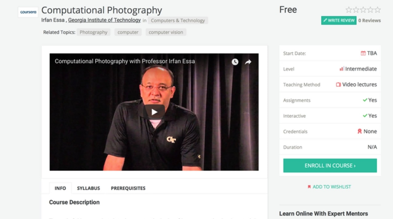 Springboard: Computational Photography stanford course
