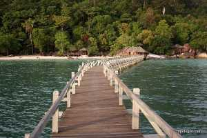Bagus Place on Tioman Island as viewed from the resort's pier.