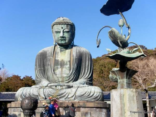 Daibutsu, the giant Amida Buddha statue of Kamakura Japan, located inside Kotoku-in Temple.
