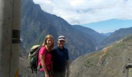 Jim Cheney, the Tripologist, and his wife hiking Tiger Leaping Gorge in southwestern China.