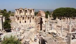 The ruins of Ephesus and the Library of Celsus in southern Turkey.