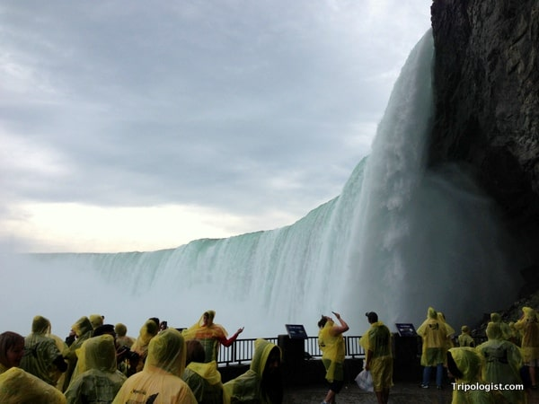 "The view of Horseshoe Falls at Niagara Falls from the platform of ""Behind the Falls""."