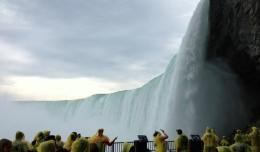 "The view of Horseshoe Falls at Niagara Falls from the platform of ""Behind the Falls""."