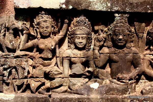 Some of the many beautiful carvings at Angkor Thom near Siem Reap, Cambodia.