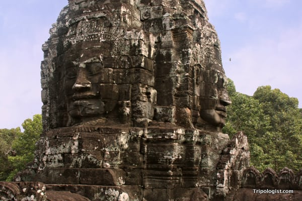 Several of the many stone faces on Bayon Temple.