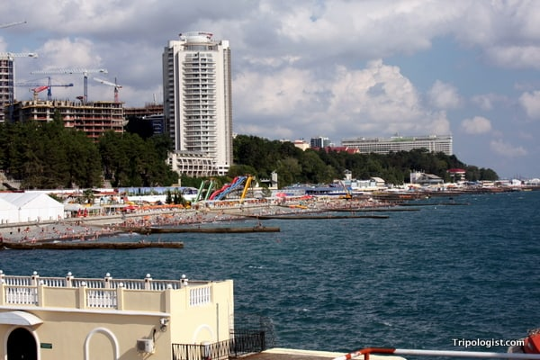 Looking out along the beautiful Black Sea beaches of Sochi, Russia.
