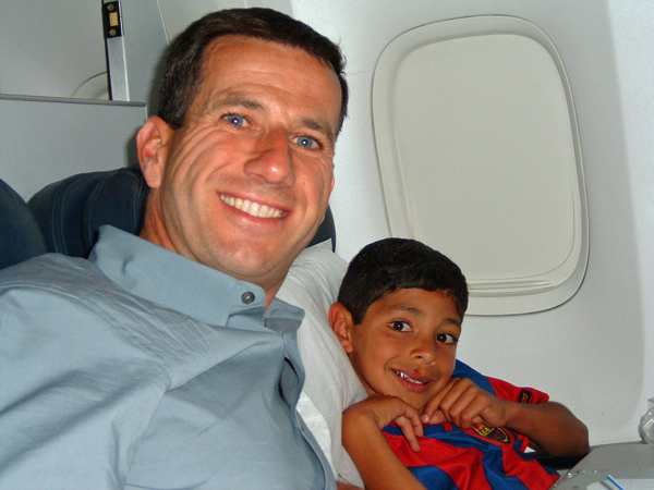 Balta and Papa on the plane