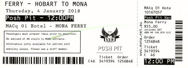 Mona Roma Posh Pit Ferry Ticket