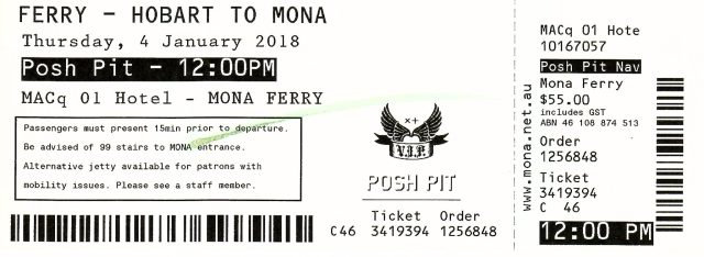 Mona Roma Posh Pit Ferry Ticket