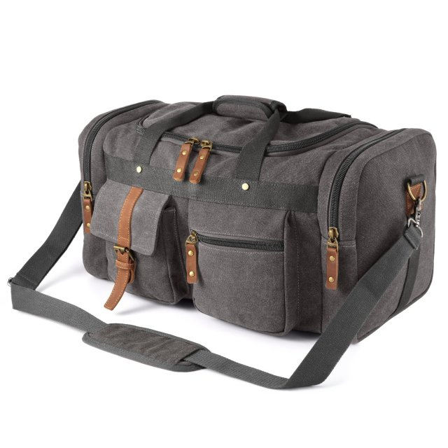 Plambag Oversized Overnight Canvas Duffel Overnight Travel Bag