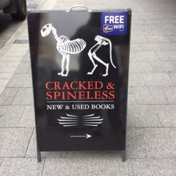 Hobart Travel Review - Cracked & Spineless Secondhand Bookshop Sign