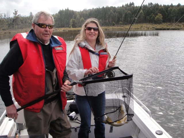 Danae with fly fisherman guide Phipps Onslow in Miena