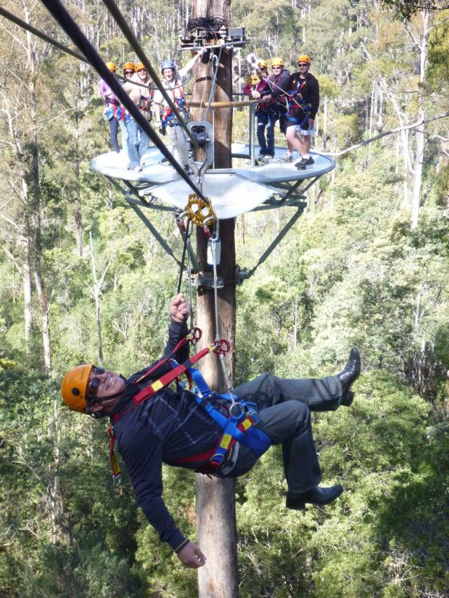 Jim hanging around at Hollybank Treetops Adventure, Underwood, Tasmania