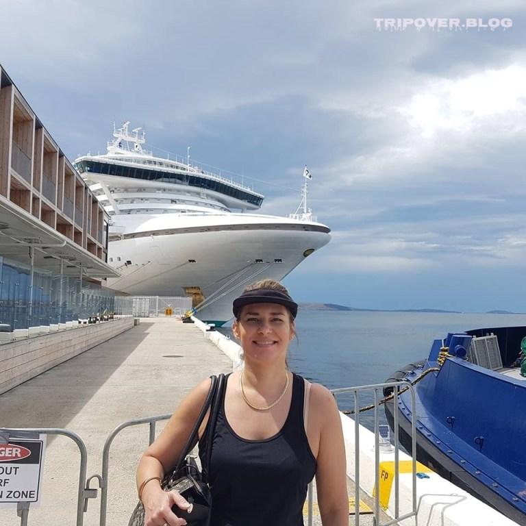 Danae and huge ship beside MACq 01 Hotel Hobart