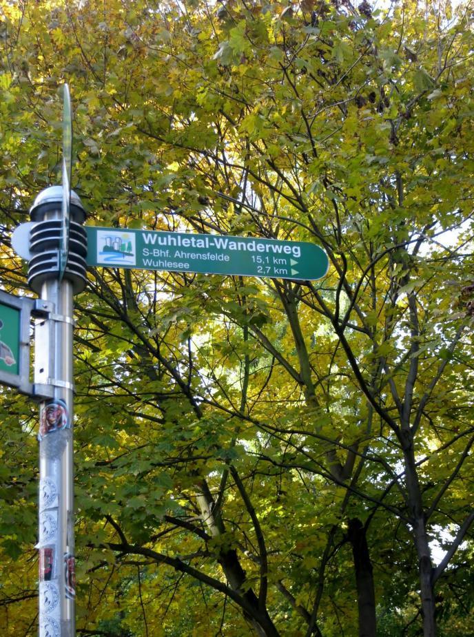 Wegweiser Wuhletalradweg