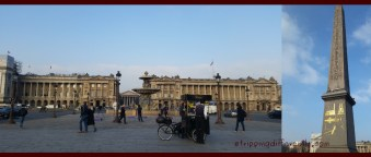 Left: The square, Place de la Concorde, where Louis XVI and his wife, Marie Antionette were executed during the French Revolution. Right: The obelisk given to France by Egypt.