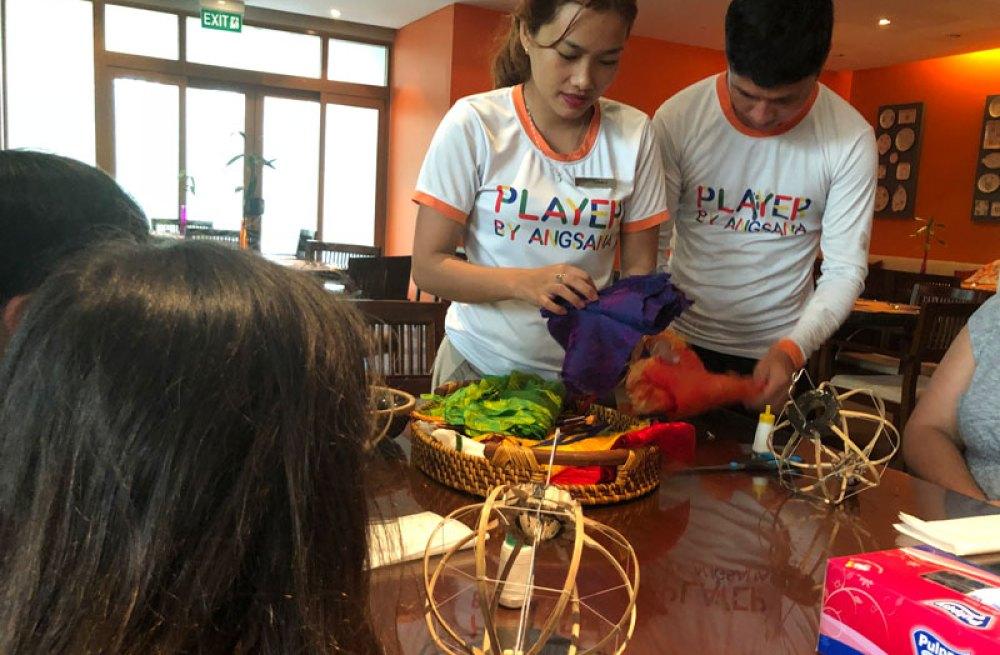 Lantern making at the Angsana