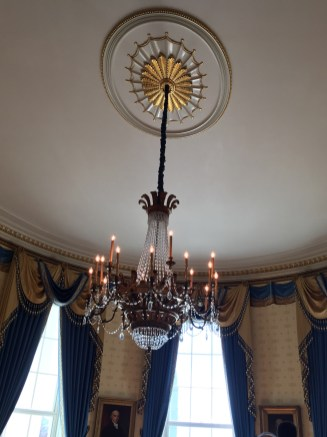 The chandelier was aquired during the early 1960's, during Kennedy's presidency. It is made of cut glass and gilded wood.