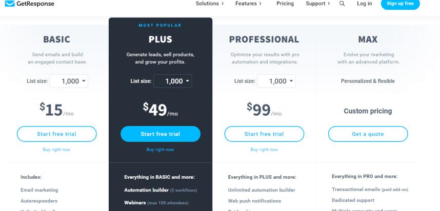 Getrsponse pricing plans