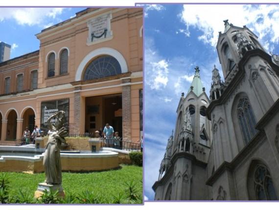 O Memorial do Imigrante, no Brás, e a Catedral da Sé.