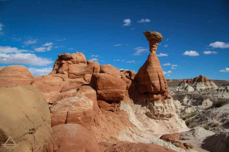 A tall toadstool rock formation.