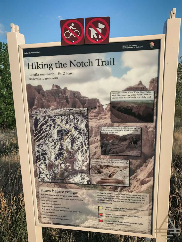 Badlands National Park Notch Trail Sign