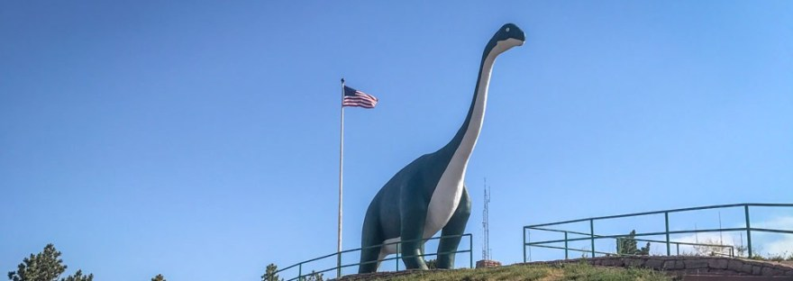 Large concrete dinosaur in the Rapid City Dinosaur Park