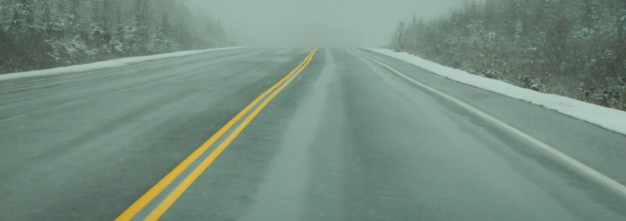 Double yellow line on a highway in Newfoundland.