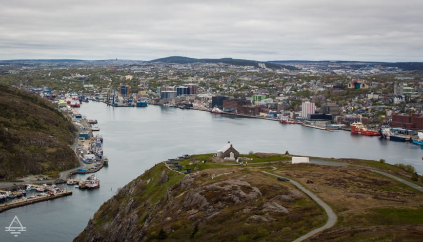 View overlooking St John's Harbour. The city of St John's, Newfoundland surrounds the harbour.