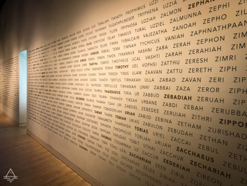Museum of the Bible Wall of Bible Names