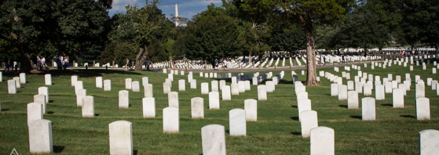 Arlington Cemetery gravestones with Washington Monument in the background
