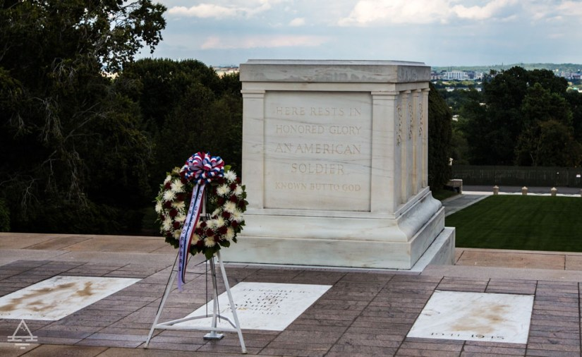 Arlington Cemetery Tomb of the Unknown Soldier with Wreath in Front of the Tomb