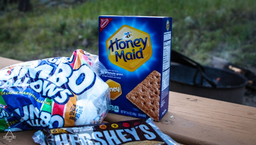 Smores Supplies by a Fire