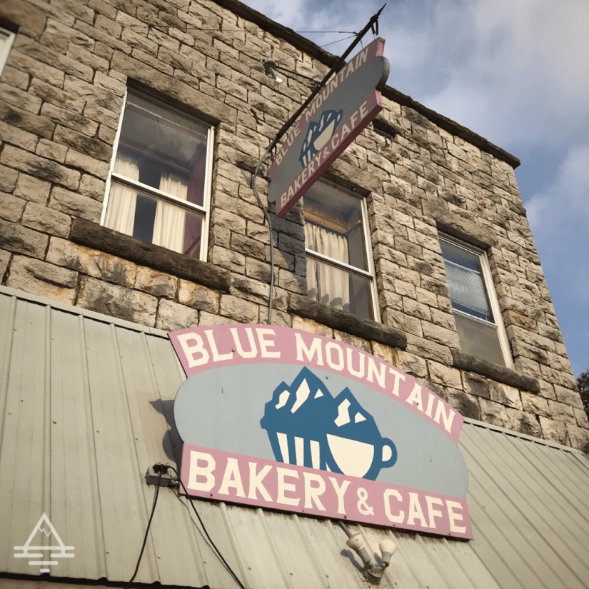 Blue Mountain Bakery and Cafe Sign in Jasper, Arkansas