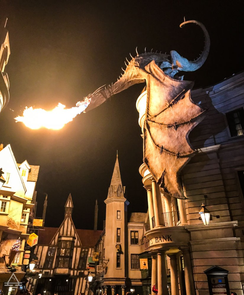 Escape from Gringotts dragon statue breathing fire in Harry Potter World Orando