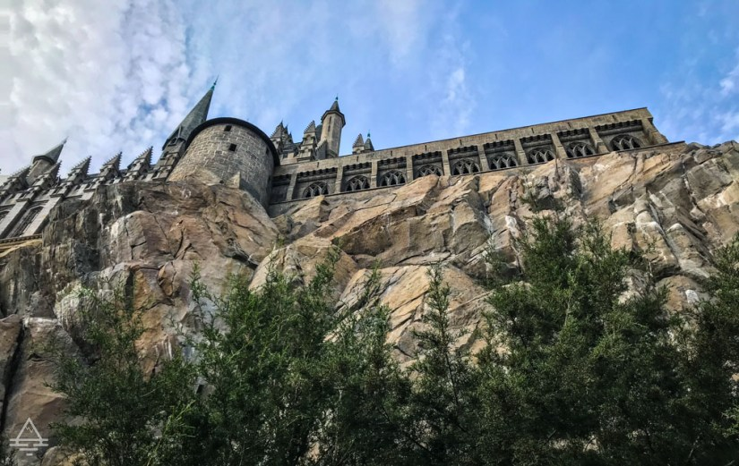 Looking up at Hogwarts Castle in Harry Potter World Orlando.