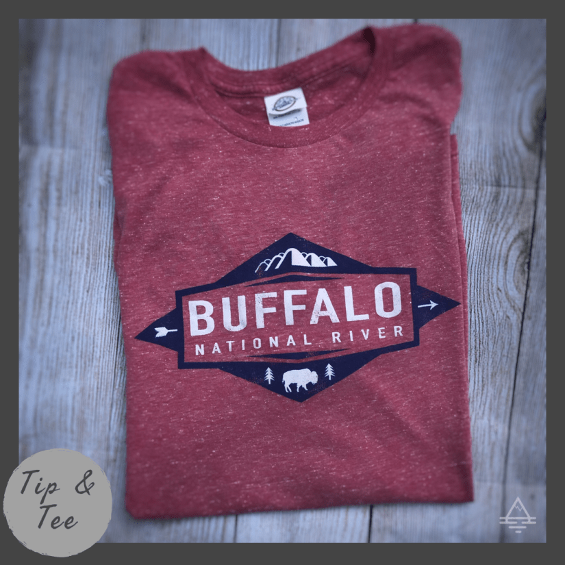 Heather Red Tee Shirt with Buffalo National River in Text