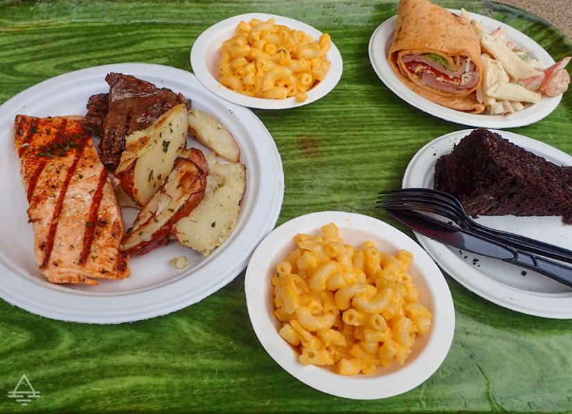 Discovery Cove Lunch Tray - Salmon, Potatoes, Mac and Cheese, Cake