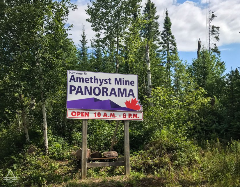 Panorama Amethyst Mine Sign in Thunder Bay, Ontario