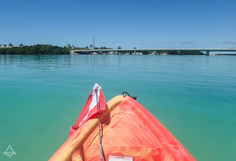 Front of a kayak in the Florida Keys