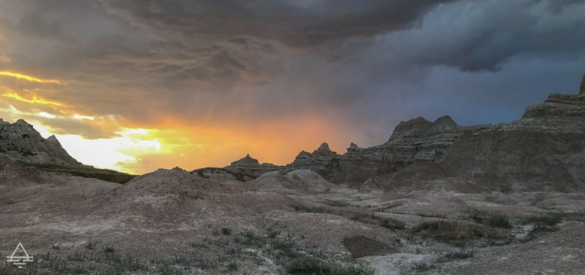 Evening sky at the Badlands with orange and yellow.