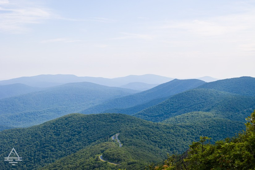 Skyline Drive on the Blue Ridge Mountains in Shenandoah National Park