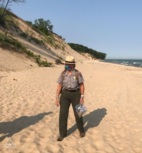 Park Ranger Standing on the Beach in Indiana Sand Dunes